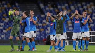 Jugadores del Napoli después de un partido.