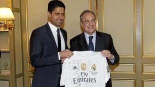 Florentino Pérez junto a Nasser Al Khlelaifi
