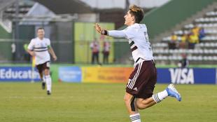 Muñoz celebra su gol sobre Japón.