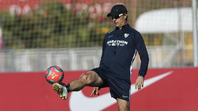 Julen Lopetegui, en un entrenamiento del Sevilla.