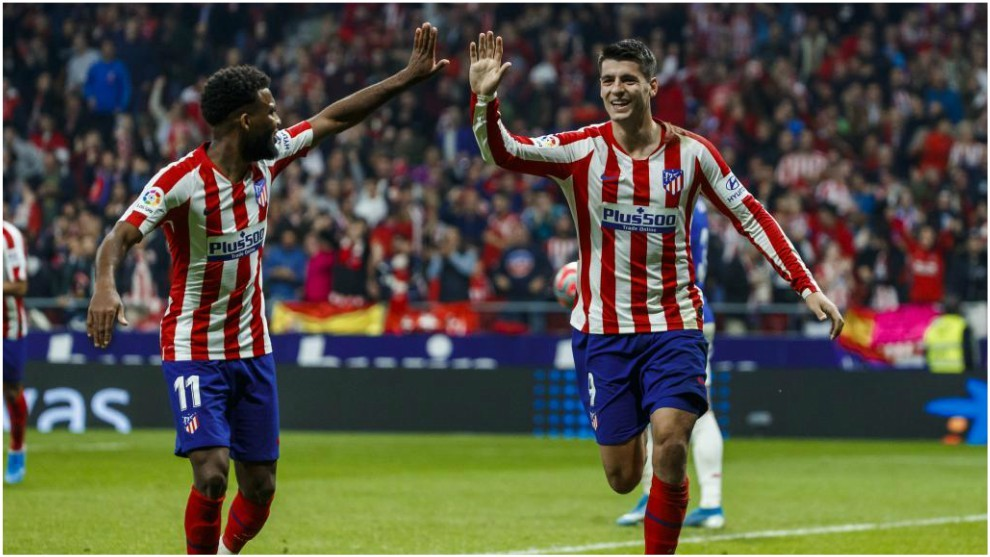 Morata celebra un gol con Lemar