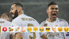 Benzema y Casemiro celebran el 1-0