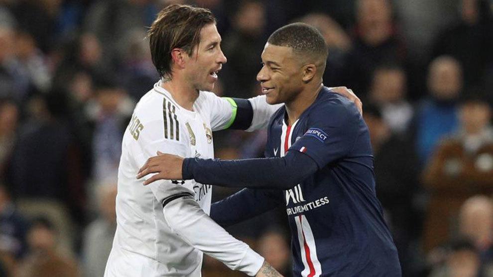 Sergio Ramos saludo a Kylian Mbappé al finalizar el Real Madrid-PSG