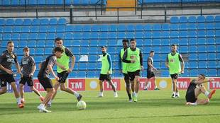 Imagen del entrenamiento de este miércoles del equipo alicantino en...