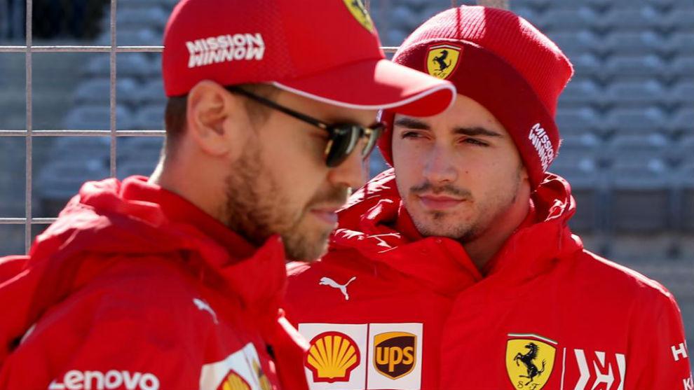 Vettel y Leclerc, durante el pasado GP de Estados Unidos.