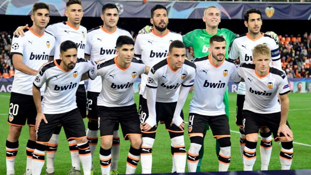 El once titular del Valencia ante el Chelsea.