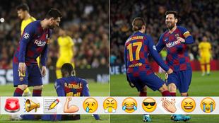 Messi, con Dembélé y Griezmann