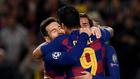 Messi, Griezmann y Suárez celebran la victoria en el Camp Nou.