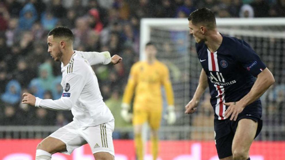 Hazard y Meunier en el partido del pasado martes en el Bernabéu.