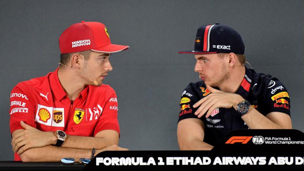 Leclerc y Verstappen, en la rueda de prensa FIA del GP de Abu Dabi.