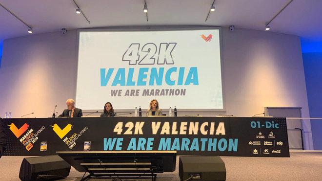 Imagen de la presentación del Maratón de Valencia 2019.
