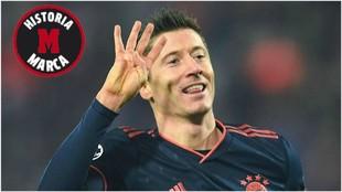 Lewandowski celebra un gol en la Champions