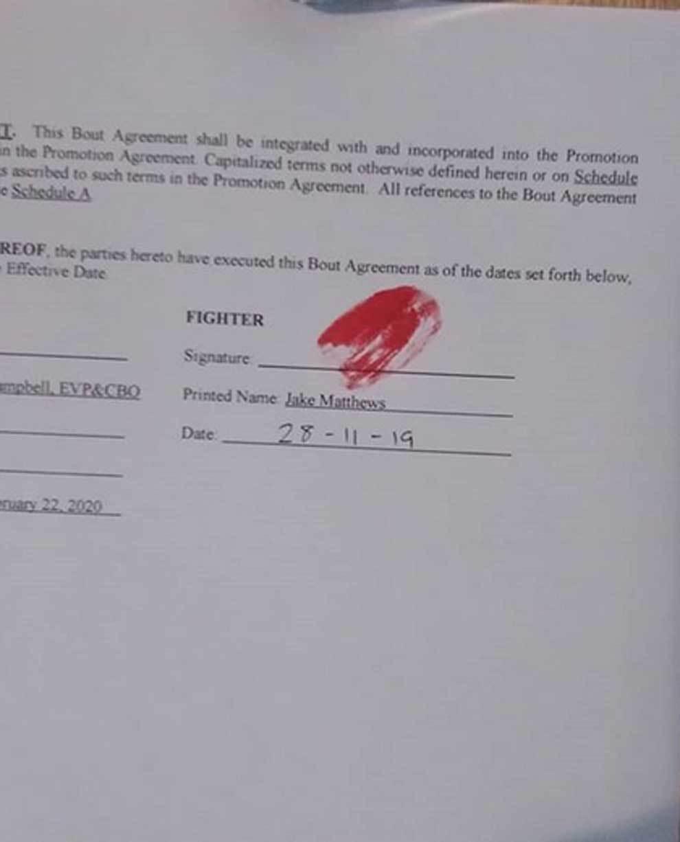 Jake Matthews firmó el contrato de su pelea de UFC contra Emil...