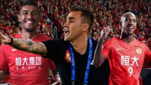 Cannavaro con Paulinho y Anderson Talisca