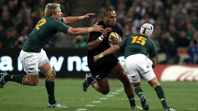 Rugby Rokocoko, en un partido con Nueva Zelanda ante Sudáfrica.