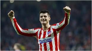 Morata celebra un gol esta temporada en el Wanda