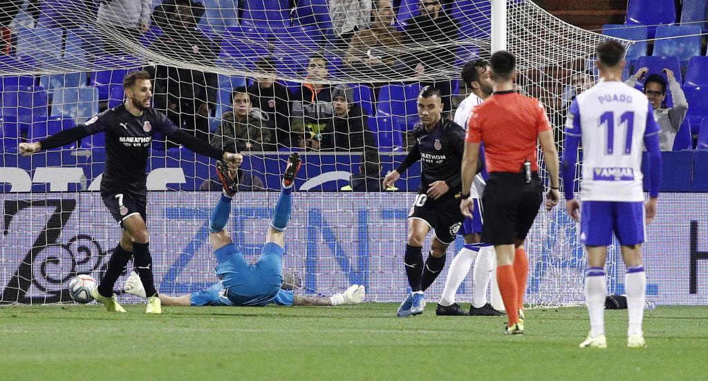 Borja García celebra uno de los dos goles que marcó en La Romareda