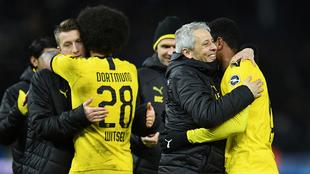 Borussia festejando el triunfo.