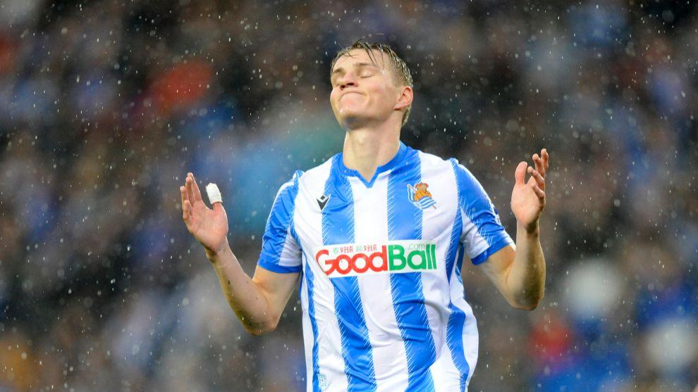 Odegaard, durante el partido de ayer contra el Eibar.