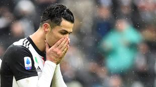 Cristiano Ronaldo lamentando sus errores ante el Sassuolo.