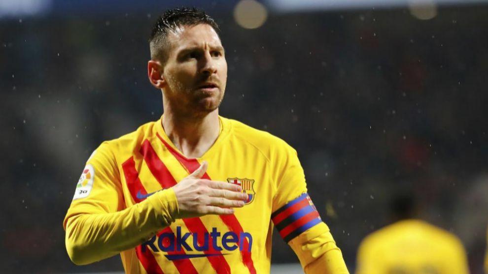Leo Messi celebra el gol marcado al Atlético de Madrid