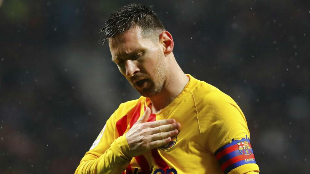 Messi celebra su gol ante el Atlético.