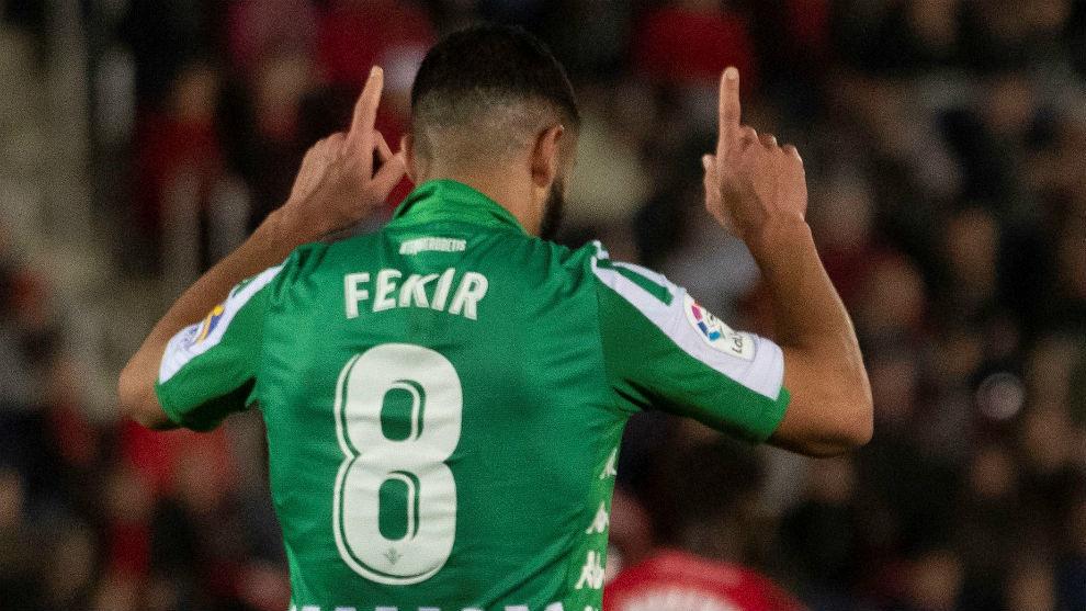 Fekir celebrates his goal in Mallorca.