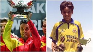 Roberto Bautista levantando la Copa Davis (izqa.) y cuando era un...