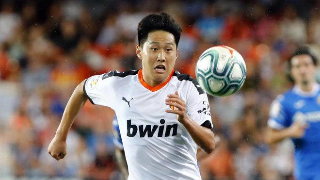 kang In Lee durante un partido del Valencia.