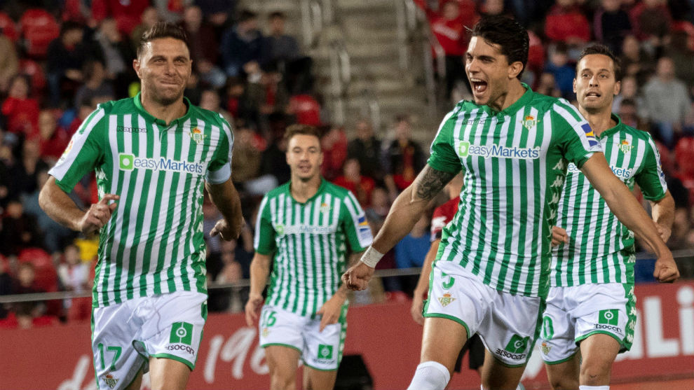Joaquín, celebrando su gol en Mallorca