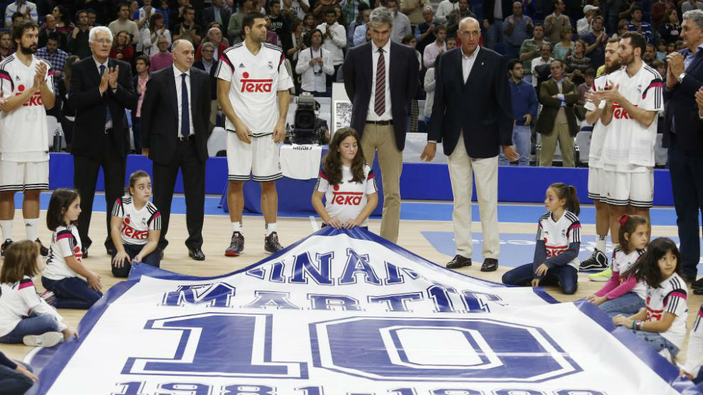 Antonio Martín, en el homenaje que le rindió el Real Madrid a su...
