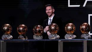 Messi con sus seis Balones de Oro