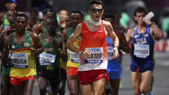 El español Dani Mateo, durante el maratón en los Mundiales de Doha