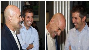 Paco López y Celades bromean en un acto de la FFCV.