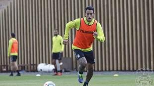 Sergio Araujo, durante el entrenamiento de Las Palmas de este...