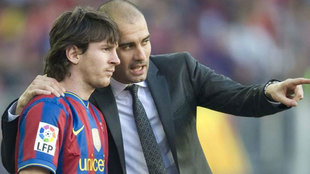 Leo Messi y Guardiola en Barcelona