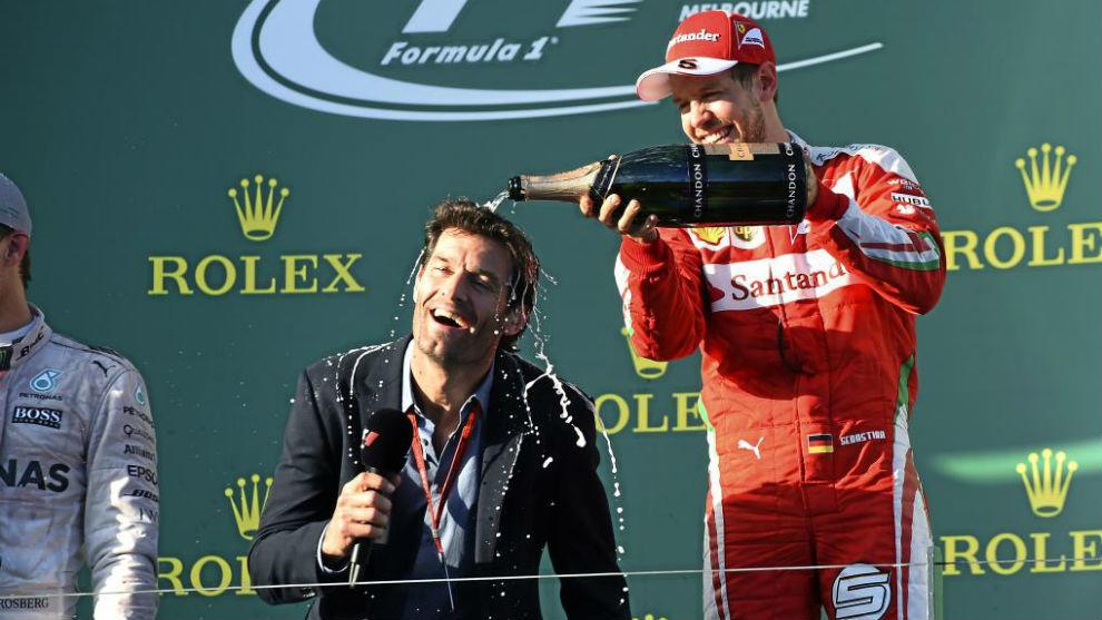 Vettel y Webber, en el podio de Australia 2016