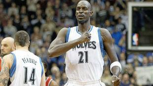 Kevin Garnett, en un partido con los Timberwolves