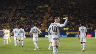 Aspas en el partido ante el Villarreal