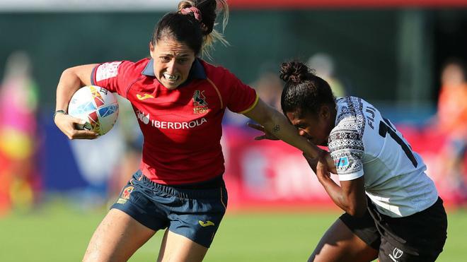 Una jugadora española durante el partido frente a Fiji.