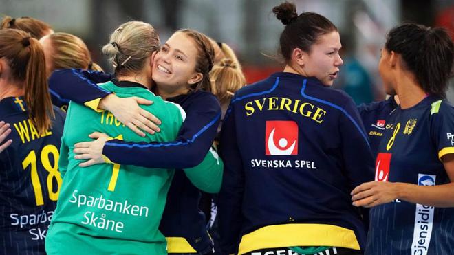 Las jugadoras suecas celebran un triunfo frente a China /