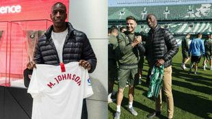 Michael Johnson, con la camiseta del Sevilla y en el entrenamiento del...