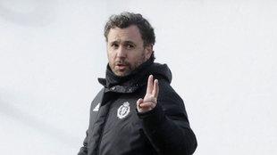 Sergio, durante un entrenamiento de esta temporada.