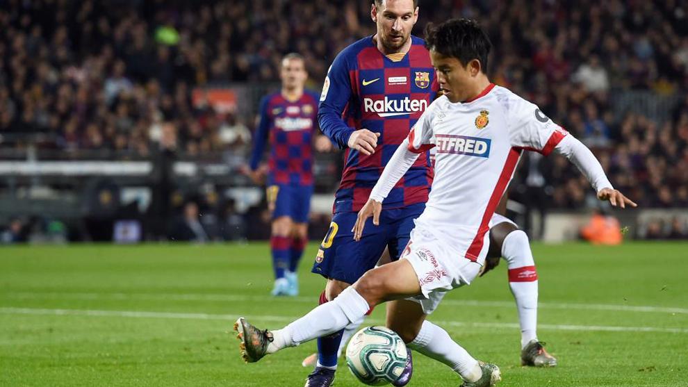 Kubo y Messi en el Camp Nou