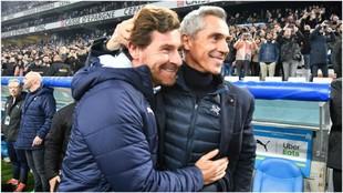 Villas-Boas y Paulo Sousa se saludan antes del partido.