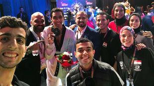 Óscar Salazar con la selección de taekwondo de Egipto