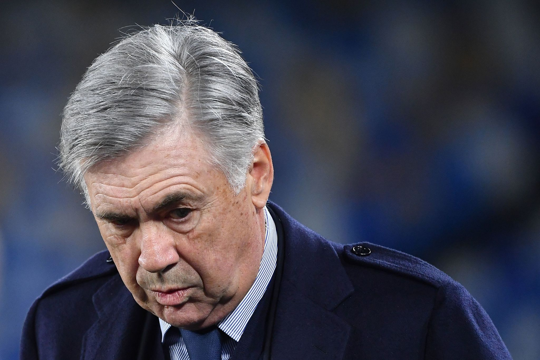 Napolis Italian head coach Carlo <HIT>Ancelotti</HIT> attends the UEFA Champions League Group E football match Napoli vs Genk on December 10, 2019 at the San Paolo stadium in Naples. (Photo by Tiziana FABI / AFP)