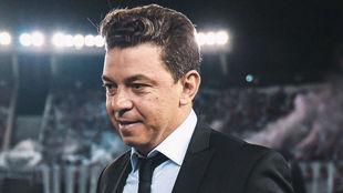 Marcelo Gallardo, durante un partido de River.