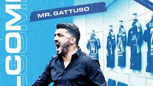 Gattuso, en la imagen de presentación del Nápoles.