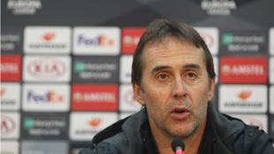 Julen Lopetegui (53), en la sala de prensa del estadio GSP.